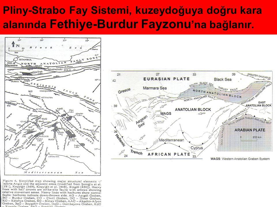 Pliny-Strabo Fay Sistemi, kuzeydoğuya doğru kara alanında Fethiye-Burdur Fayzonu 'na bağlanır.