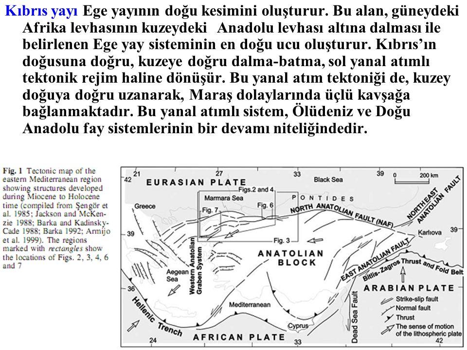 Kıbrıs yayı Ege yayının doğu kesimini oluşturur. Bu alan, güneydeki Afrika levhasının kuzeydeki Anadolu levhası altına dalması ile belirlenen Ege yay