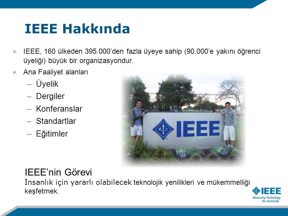 IEEE, 160 ülkeden 395.000'den fazla üyeye sahip (90.000'e yakını öğrenci üyeliği) büyük bir organizasyondur. Ana Faaliyet alanları –Üyelik –Dergiler –