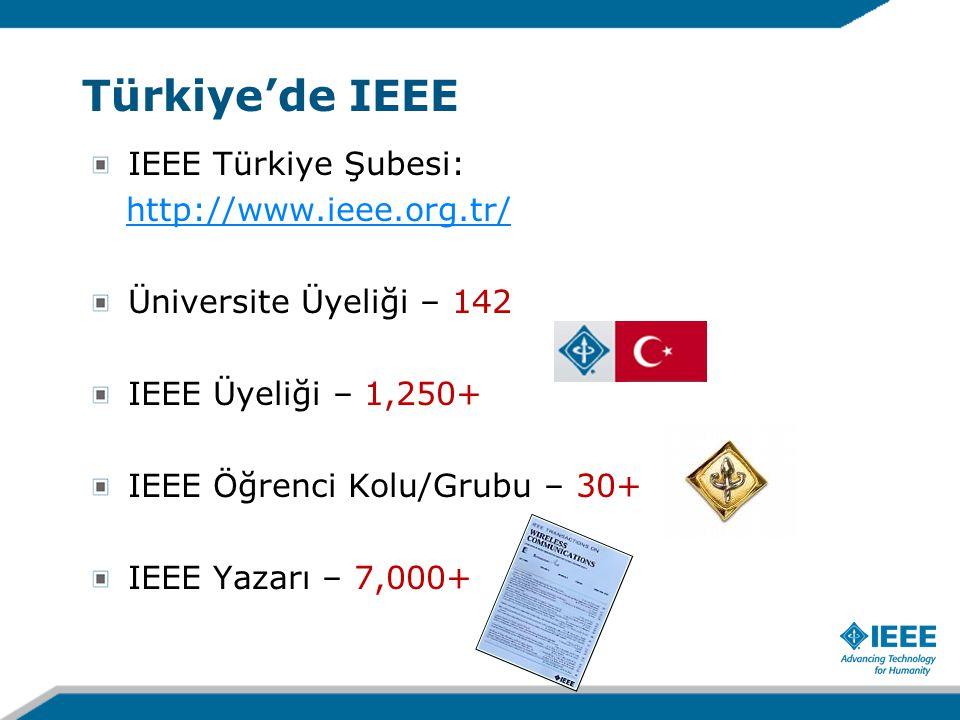 IEEE Türkiye Şubesi: http://www.ieee.org.tr/ Üniversite Üyeliği – 142 IEEE Üyeliği – 1,250+ IEEE Öğrenci Kolu/Grubu – 30+ IEEE Yazarı – 7,000+ Türkiye