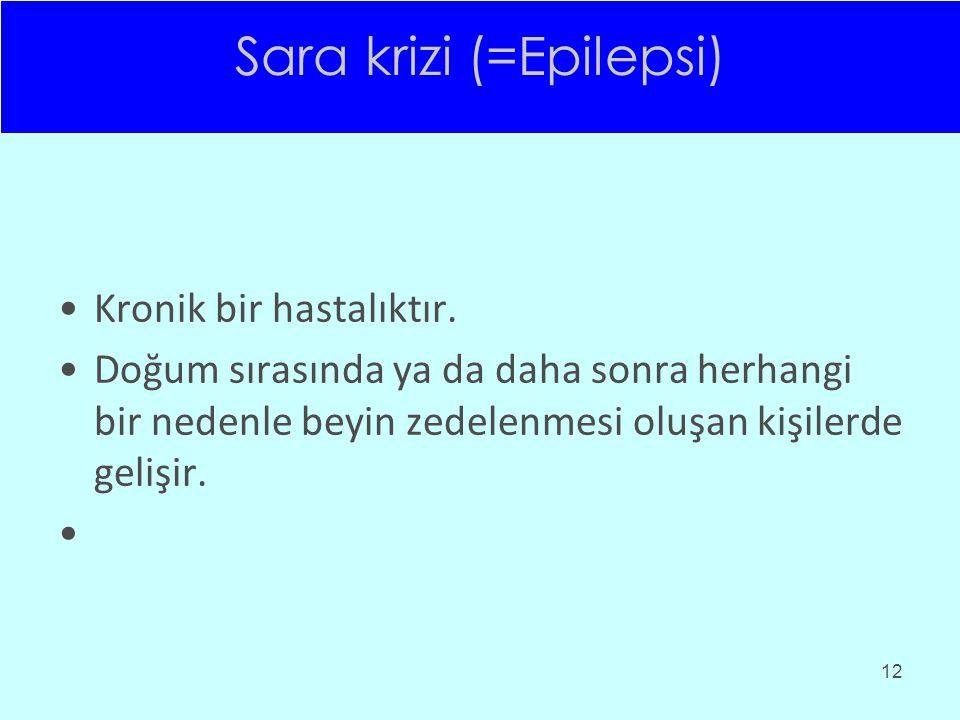 Sara krizi (=Epilepsi) Kronik bir hastalıktır. Doğum sırasında ya da daha sonra herhangi bir nedenle beyin zedelenmesi oluşan kişilerde gelişir. 12