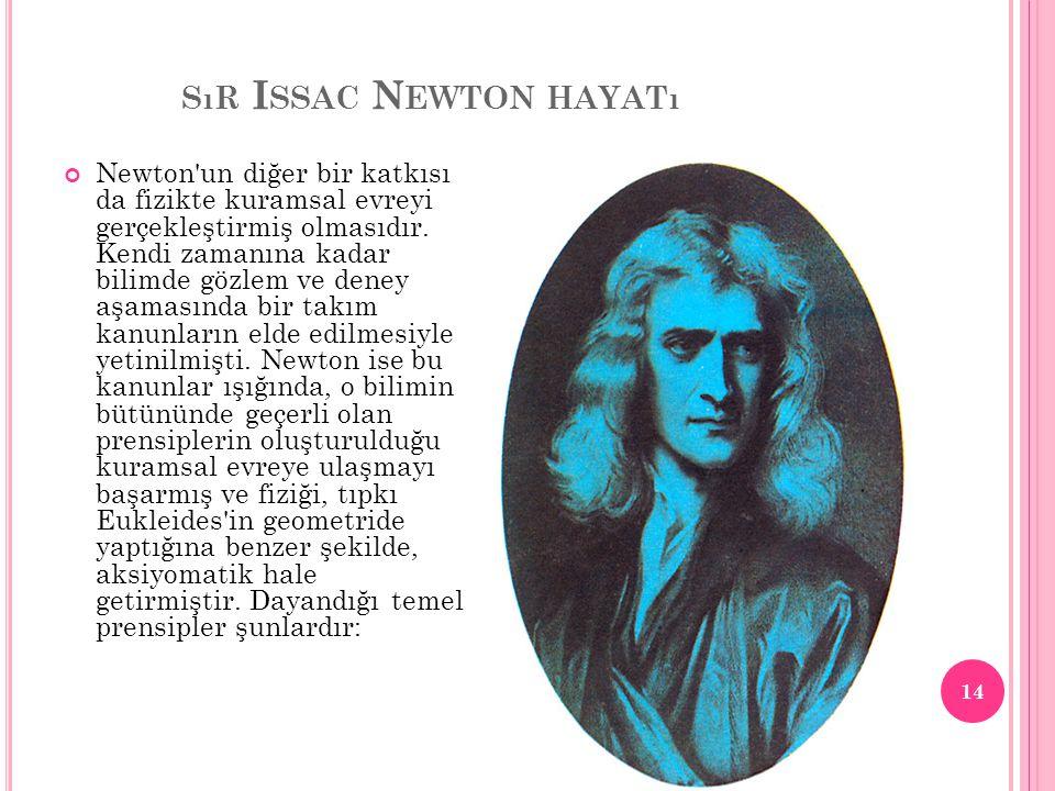 SıR I SSAC N EWTON HAYATı Newton'un diğer bir katkısı da fizikte kuramsal evreyi gerçekleştirmiş olmasıdır. Kendi zamanına kadar bilimde gözlem ve den