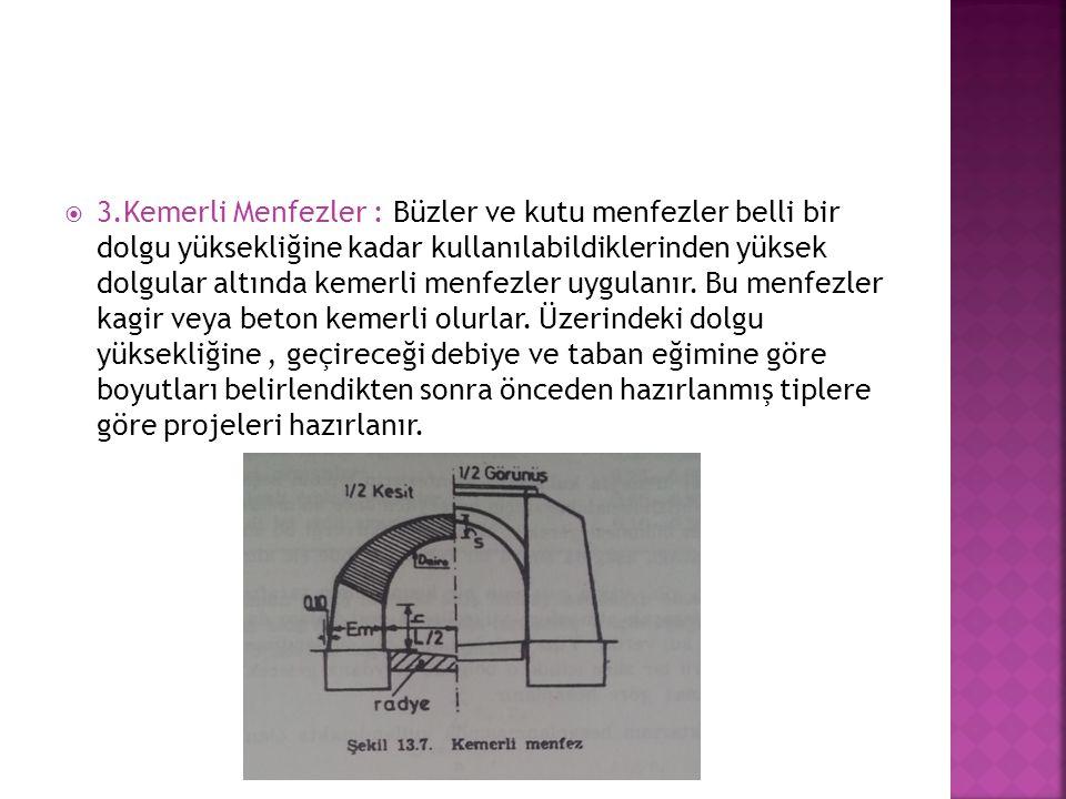  3.Kemerli Menfezler : Büzler ve kutu menfezler belli bir dolgu yüksekliğine kadar kullanılabildiklerinden yüksek dolgular altında kemerli menfezler