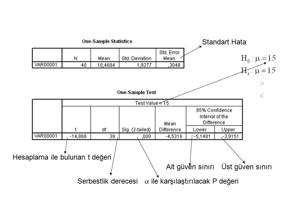 Standart Hata Alt güven sınırıÜst güven sınırı Hesaplama ile bulunan t değeri Serbestlik derecesi  ile karşılaştırılacak P değeri