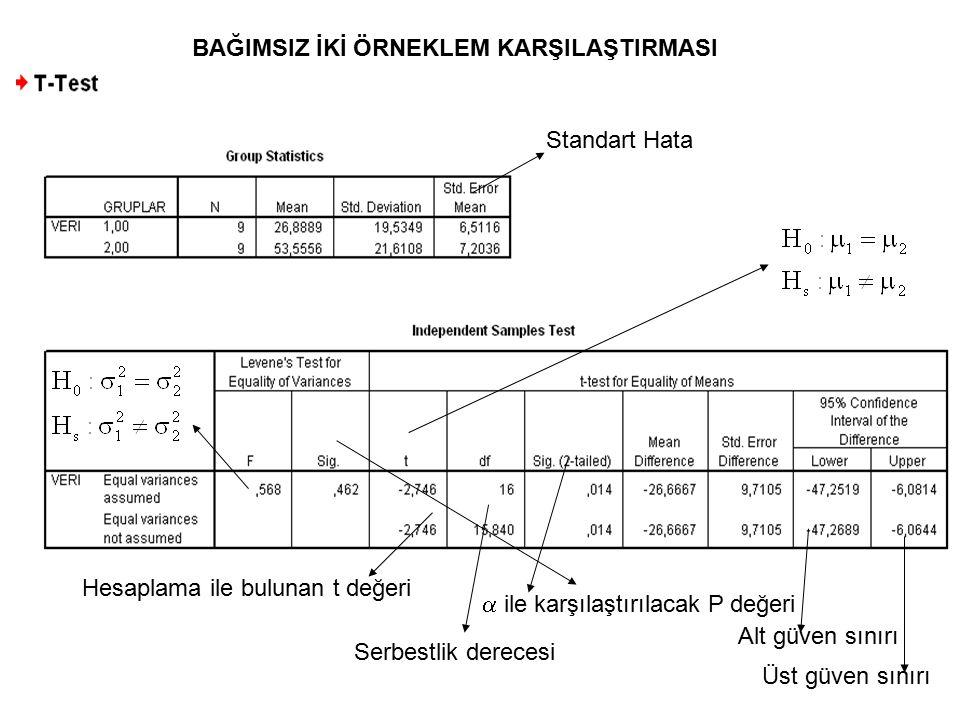 Standart Hata Alt güven sınırı Üst güven sınırı Hesaplama ile bulunan t değeri Serbestlik derecesi  ile karşılaştırılacak P değeri BAĞIMSIZ İKİ ÖRNEK
