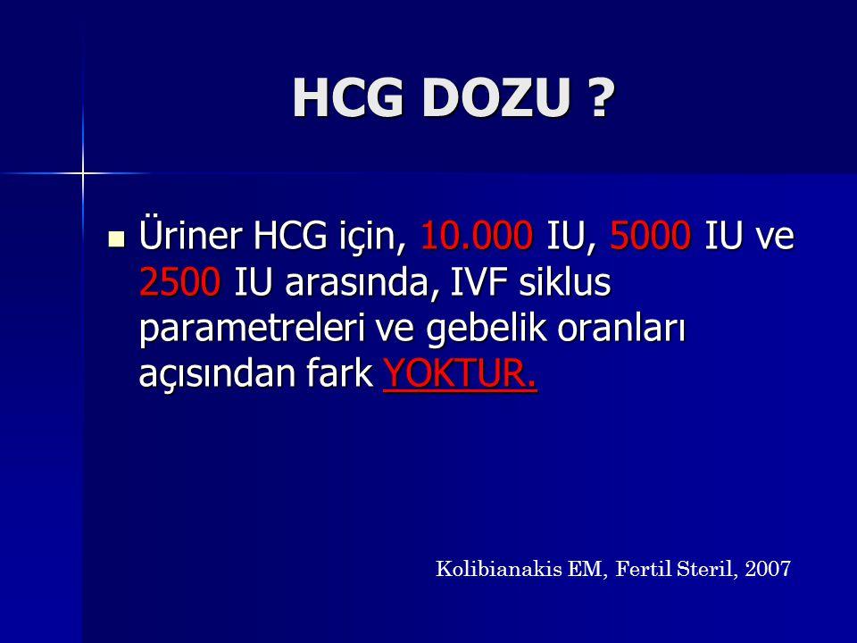 HCG DOZU ? Üriner HCG için, 10.000 IU, 5000 IU ve 2500 IU arasında, IVF siklus parametreleri ve gebelik oranları açısından fark YOKTUR. Üriner HCG içi