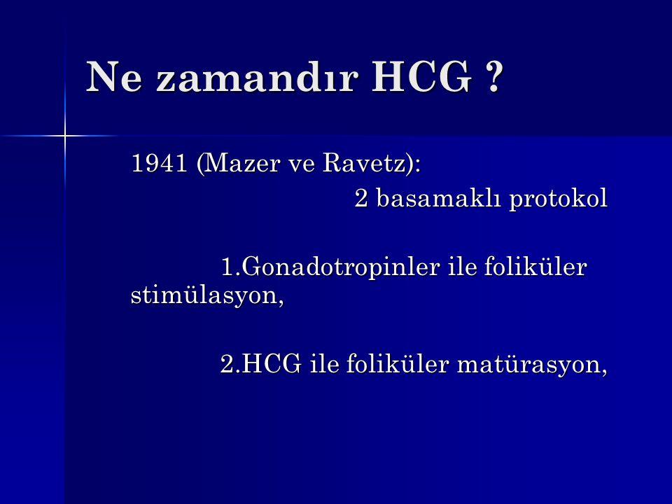 Ne zamandır HCG ? 1941 (Mazer ve Ravetz): 2 basamaklı protokol 1.Gonadotropinler ile foliküler stimülasyon, 2.HCG ile foliküler matürasyon,