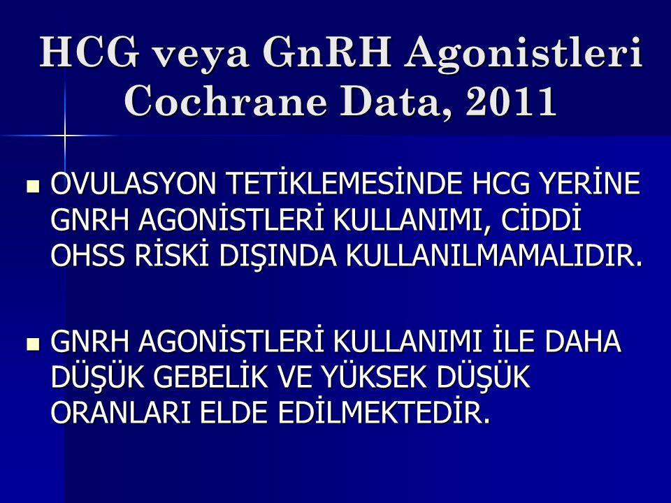 HCG veya GnRH Agonistleri Cochrane Data, 2011 OVULASYON TETİKLEMESİNDE HCG YERİNE GNRH AGONİSTLERİ KULLANIMI, CİDDİ OHSS RİSKİ DIŞINDA KULLANILMAMALID