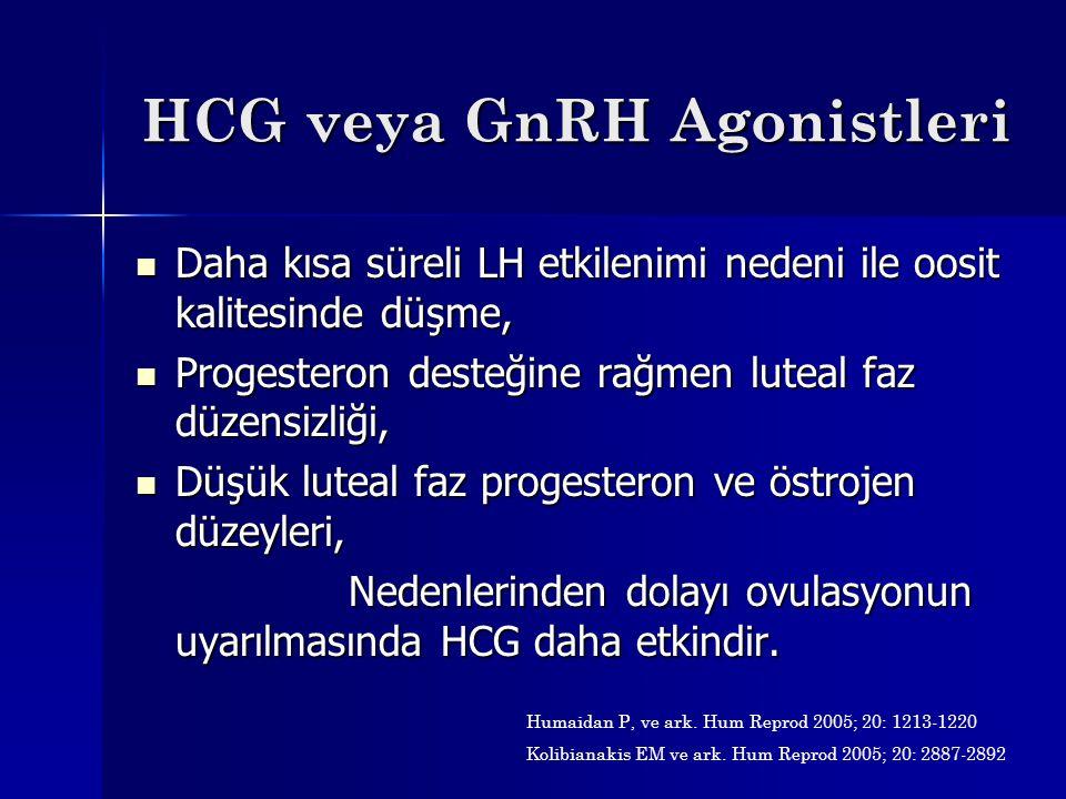 HCG veya GnRH Agonistleri Daha kısa süreli LH etkilenimi nedeni ile oosit kalitesinde düşme, Daha kısa süreli LH etkilenimi nedeni ile oosit kalitesin