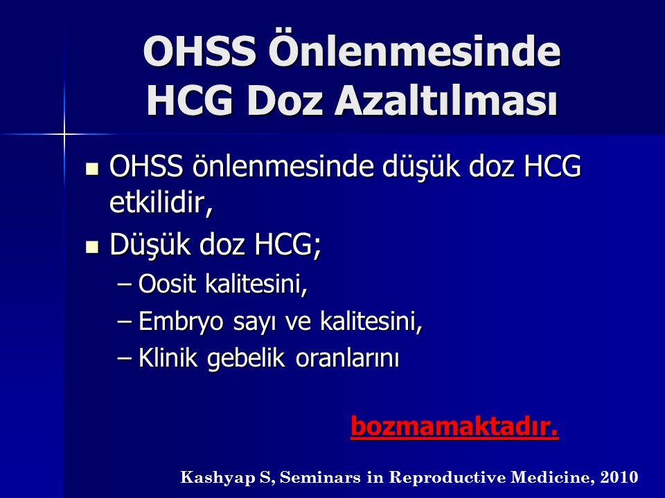 OHSS Önlenmesinde HCG Doz Azaltılması OHSS önlenmesinde düşük doz HCG etkilidir, OHSS önlenmesinde düşük doz HCG etkilidir, Düşük doz HCG; Düşük doz H