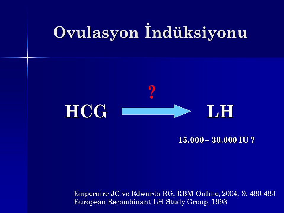 Ovulasyon İndüksiyonu HCGLH 15.000 – 30.000 IU ? Emperaire JC ve Edwards RG, RBM Online, 2004; 9: 480-483 European Recombinant LH Study Group, 1998 ?