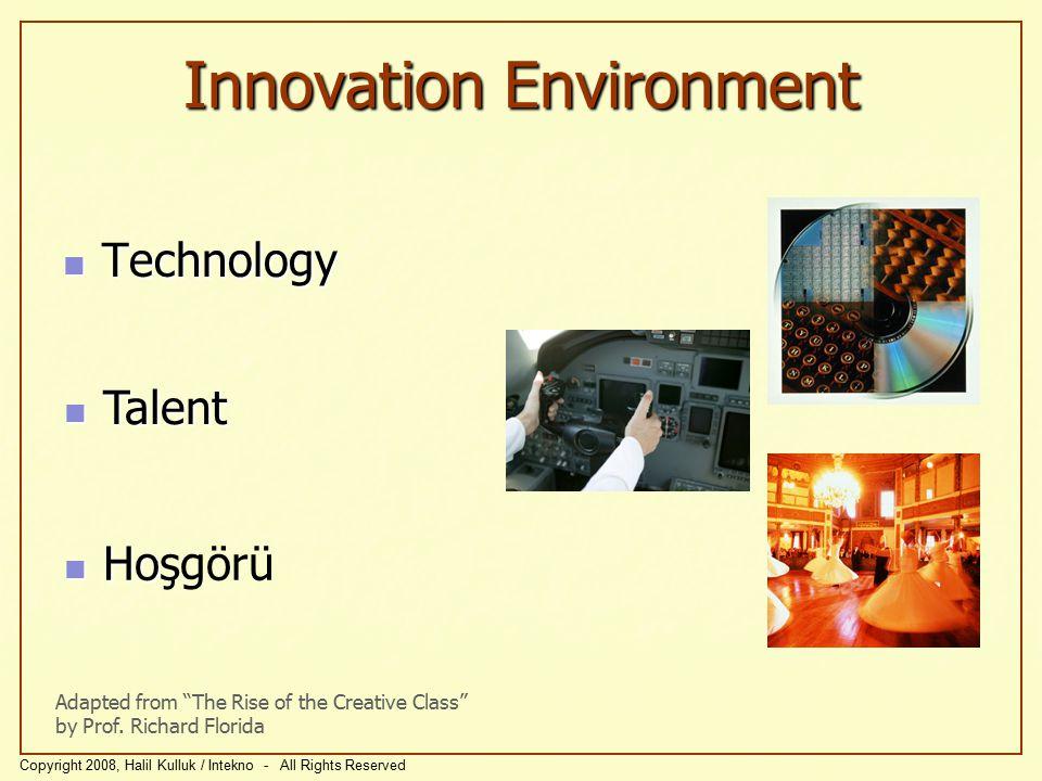 Yenişim Ortamı Teknoloji Teknoloji Adapted from The Rise of the Creative Class by Prof.
