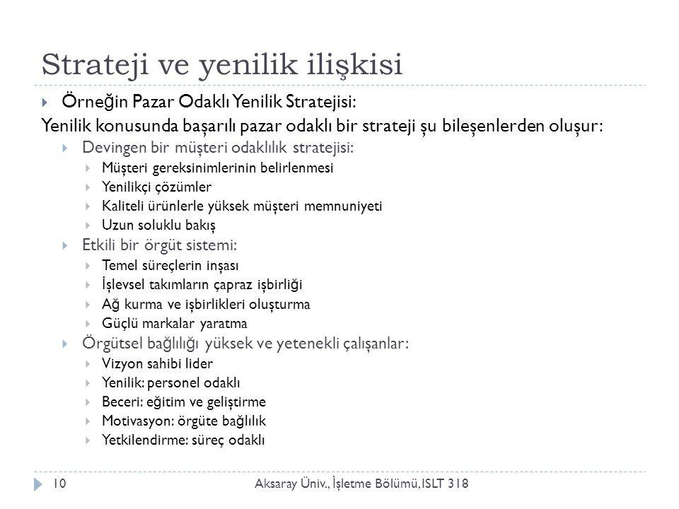 Strateji ve yenilik ilişkisi Aksaray Üniv., İ şletme Bölümü, ISLT 31810  Örne ğ in Pazar Odaklı Yenilik Stratejisi: Yenilik konusunda başarılı pazar