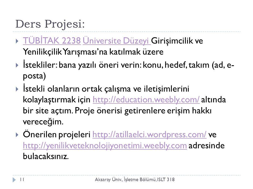 Ders Projesi: Aksaray Üniv., İ şletme Bölümü, ISLT 31811  TÜB İ TAK 2238 Üniversite Düzeyi Girişimcilik ve Yenilikçilik Yarışması'na katılmak üzere T