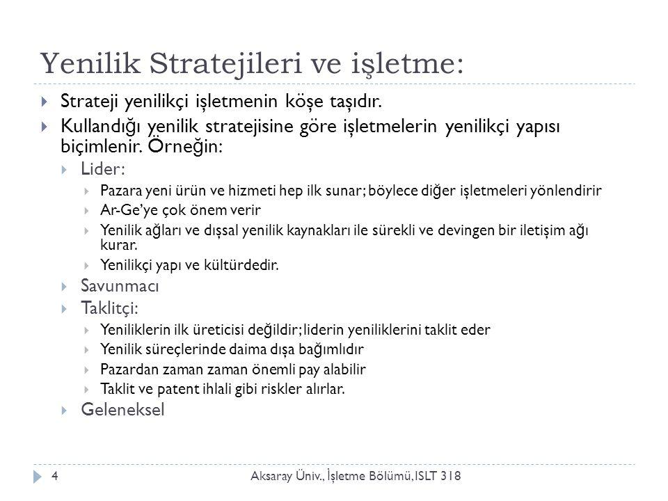 Yeni ürün stratejileri Aksaray Üniv., İ şletme Bölümü, ISLT 3185  İ şletmelerde dört yenilik (yeni ürün) stratejisinin uygulandı ğ ı anlaşılmaktadır:  Lider (/hücum) stratejisi:  İ şletme niteli ğ i: tekelci, güçlü  Amaç: yeni ürünlerin rekabet oluşmadan pazara sürülmesi, yüksek pazar payı yakalama  İ şletmenin güçlü yanı: Ar-Ge ve pazardaki hakim konumu.