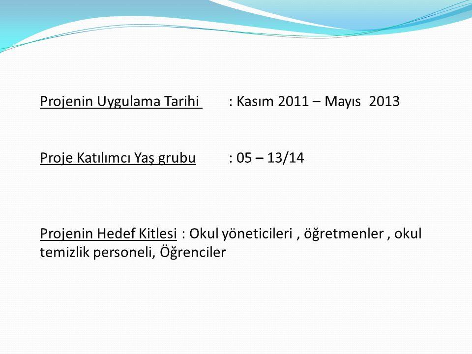 Projenin Uygulama Tarihi : Kasım 2011 – Mayıs 2013 Proje Katılımcı Yaş grubu: 05 – 13/14 Projenin Hedef Kitlesi: Okul yöneticileri, öğretmenler, okul