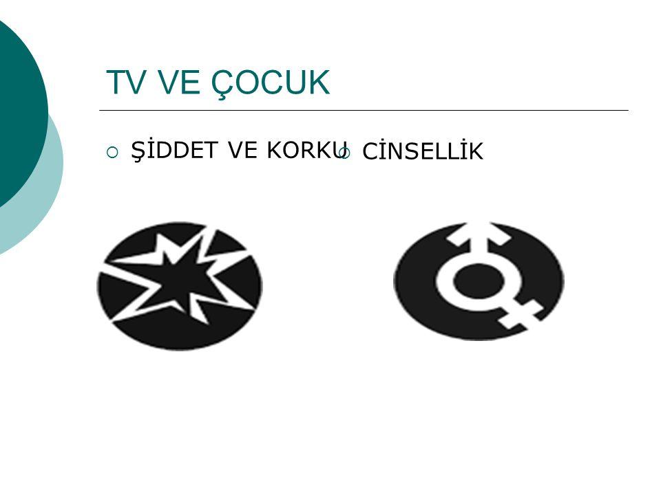 TV VE ÇOCUK  ŞİDDET VE KORKU  CİNSELLİK
