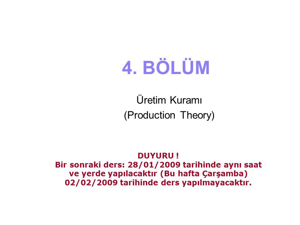 4. BÖLÜM Üretim Kuramı (Production Theory) DUYURU ! Bir sonraki ders: 28/01/2009 tarihinde aynı saat ve yerde yapılacaktır (Bu hafta Çarşamba) 02/02/2