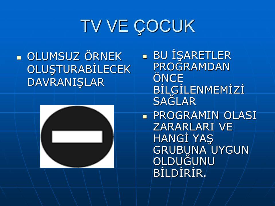 TV VE ÇOCUK GENEL İZLEYİCİ GENEL İZLEYİCİ YEDİ YAŞ VE ÜZERİ İÇİN YEDİ YAŞ VE ÜZERİ İÇİN
