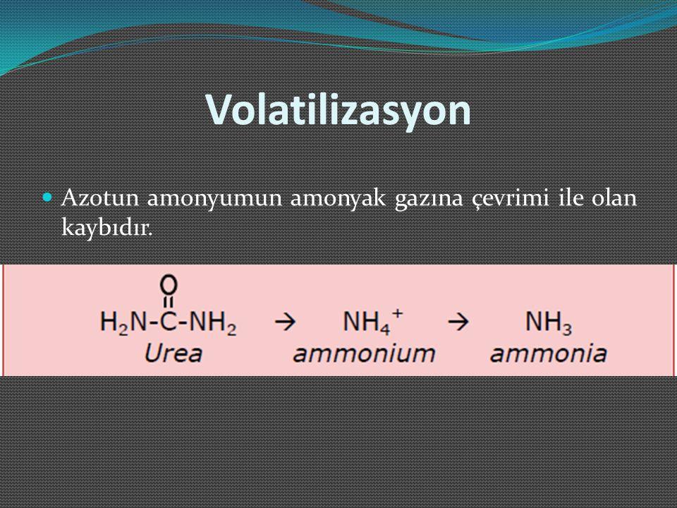 Volatilizasyon Azotun amonyumun amonyak gazına çevrimi ile olan kaybıdır.