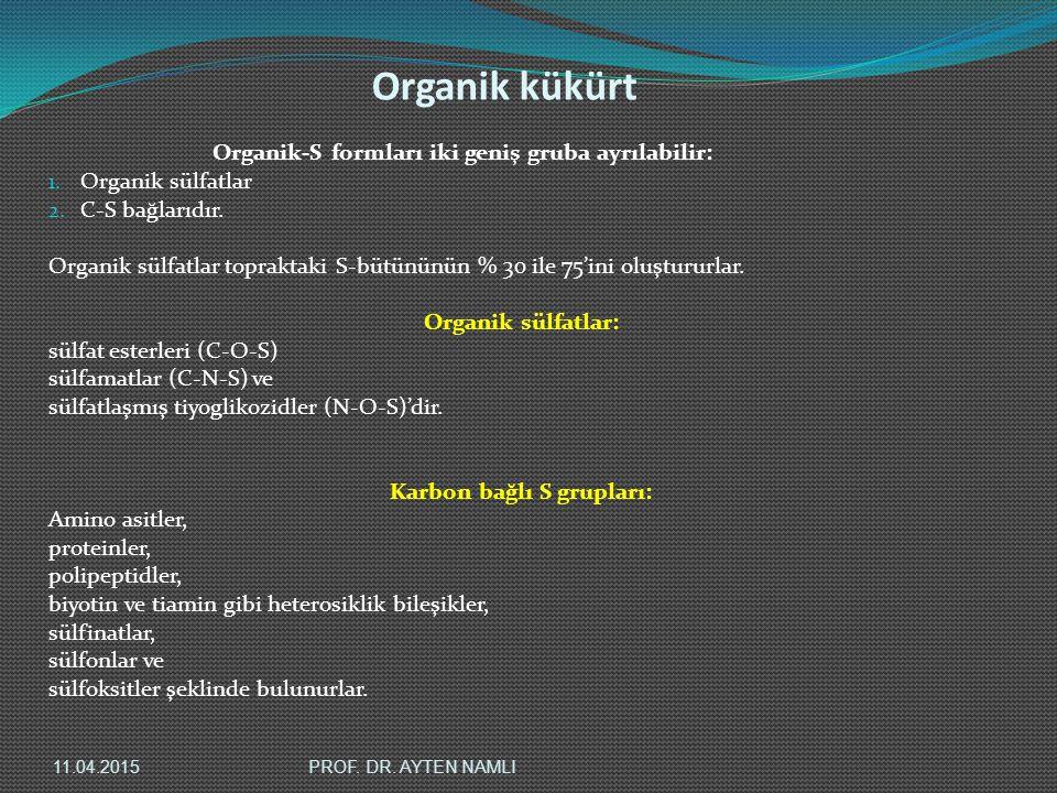 Organik kükürt Organik-S formları iki geniş gruba ayrılabilir: 1. Organik sülfatlar 2. C-S bağlarıdır. Organik sülfatlar topraktaki S-bütününün % 30 i