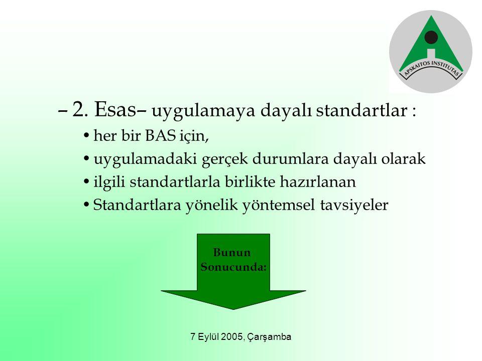 7 Eylül 2005, Çarşamba –2. Esas– uygulamaya dayalı standartlar : her bir BAS için, uygulamadaki gerçek durumlara dayalı olarak ilgili standartlarla bi