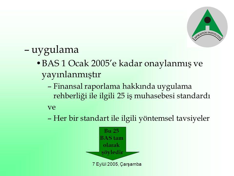 7 Eylül 2005, Çarşamba –uygulama BAS 1 Ocak 2005'e kadar onaylanmış ve yayınlanmıştır –Finansal raporlama hakkında uygulama rehberliği ile ilgili 25 i