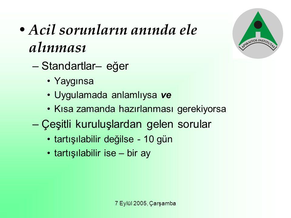 7 Eylül 2005, Çarşamba Acil sorunların anında ele alınması –Standartlar– eğer Yaygınsa Uygulamada anlamlıysa ve Kısa zamanda hazırlanması gerekiyorsa