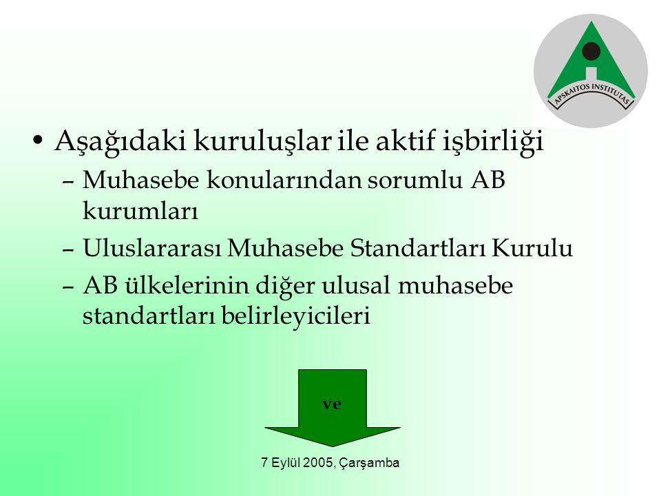 7 Eylül 2005, Çarşamba Aşağıdaki kuruluşlar ile aktif işbirliği –Muhasebe konularından sorumlu AB kurumları –Uluslararası Muhasebe Standartları Kurulu