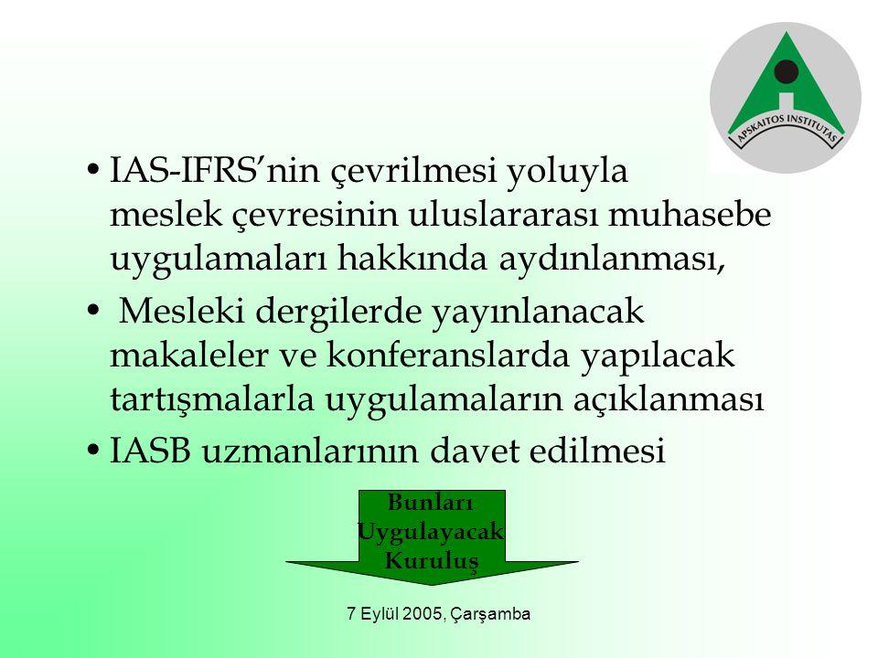 7 Eylül 2005, Çarşamba IAS-IFRS'nin çevrilmesi yoluyla meslek çevresinin uluslararası muhasebe uygulamaları hakkında aydınlanması, Mesleki dergilerde