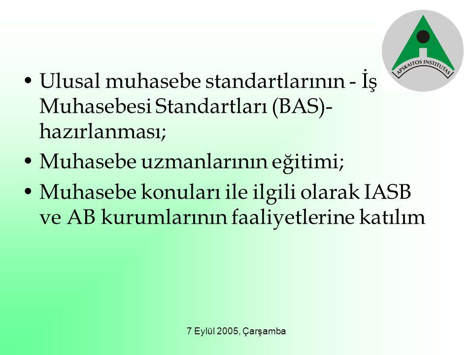 7 Eylül 2005, Çarşamba Ulusal muhasebe standartlarının - İş Muhasebesi Standartları (BAS)- hazırlanması; Muhasebe uzmanlarının eğitimi; Muhasebe konul