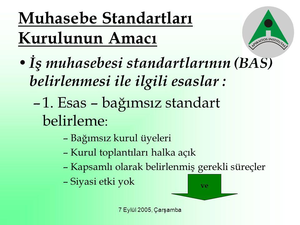 7 Eylül 2005, Çarşamba Muhasebe Standartları Kurulunun Amacı İş muhasebesi standartlarının (BAS) belirlenmesi ile ilgili esaslar : –1. Esas – bağımsız