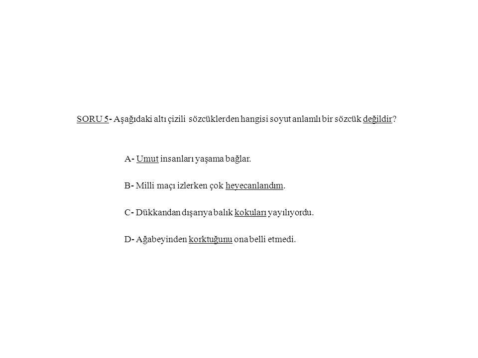 SORU 5- Aşağıdaki altı çizili sözcüklerden hangisi soyut anlamlı bir sözcük değildir.