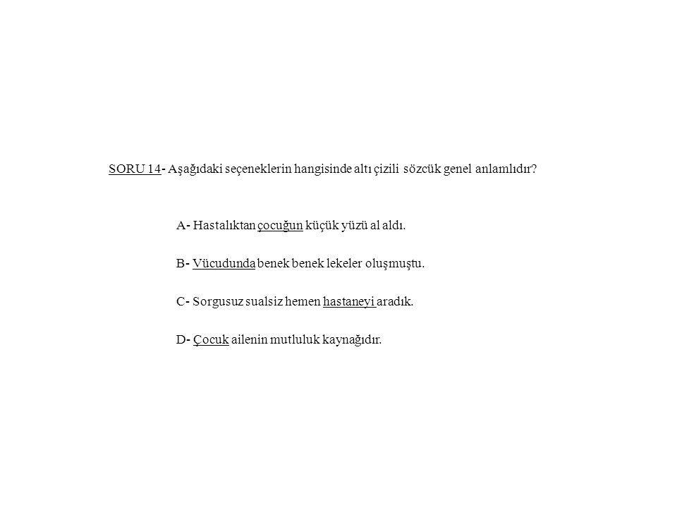 SORU 14- Aşağıdaki seçeneklerin hangisinde altı çizili sözcük genel anlamlıdır? A- Hastalıktan çocuğun küçük yüzü al aldı. B- Vücudunda benek benek le