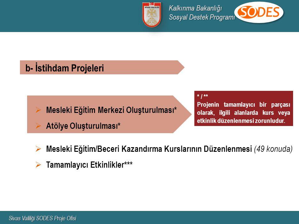  Mesleki Eğitim Merkezi Oluşturulması*  Atölye Oluşturulması*  Mesleki Eğitim/Beceri Kazandırma Kurslarının Düzenlenmesi (49 konuda)  Tamamlayıcı