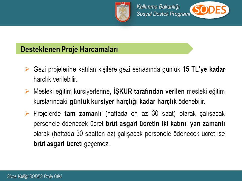  Gezi projelerine katılan kişilere gezi esnasında günlük 15 TL'ye kadar harçlık verilebilir.