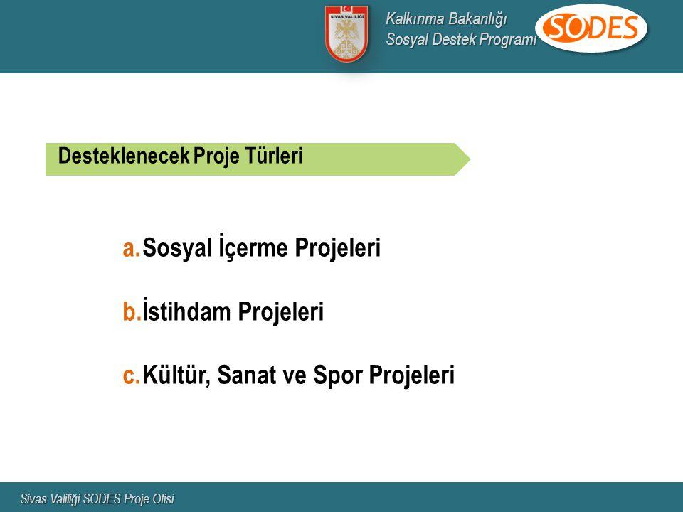 Desteklenecek Proje Türleri a.Sosyal İçerme Projeleri b.İstihdam Projeleri c.Kültür, Sanat ve Spor Projeleri