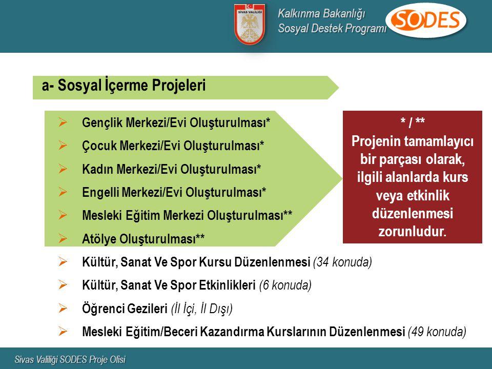 * / ** Projenin tamamlayıcı bir parçası olarak, ilgili alanlarda kurs veya etkinlik düzenlenmesi zorunludur. a- Sosyal İçerme Projeleri  Gençlik Merk