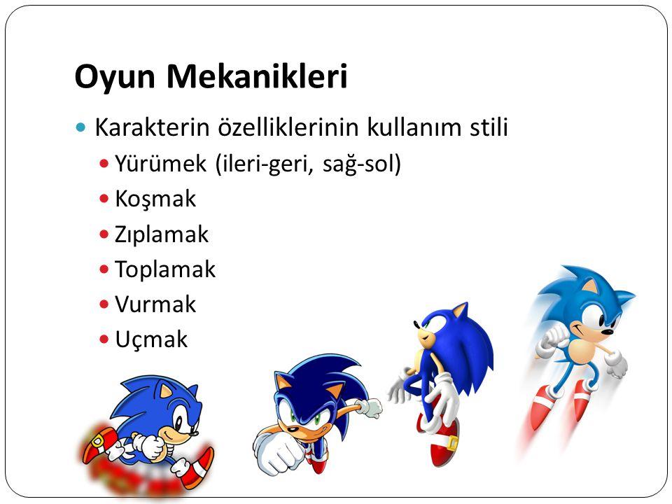 Oyun Mekanikleri Karakterin özelliklerinin kullanım stili Yürümek (ileri-geri, sağ-sol) Koşmak Zıplamak Toplamak Vurmak Uçmak