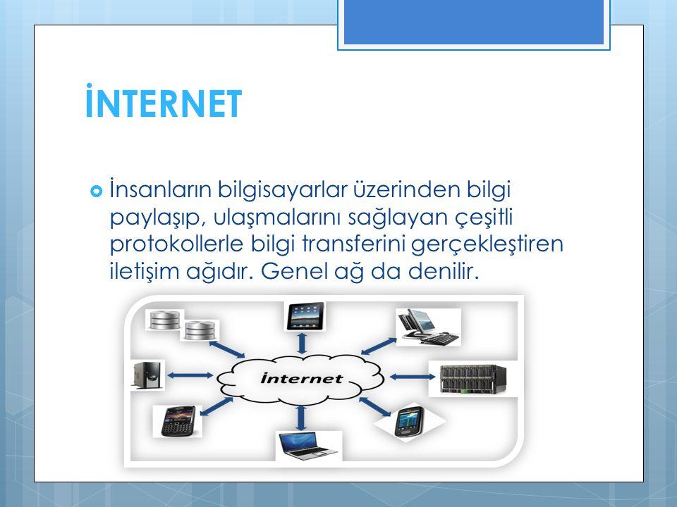 İNTERNET  İnsanların bilgisayarlar üzerinden bilgi paylaşıp, ulaşmalarını sağlayan çeşitli protokollerle bilgi transferini gerçekleştiren iletişim ağıdır.