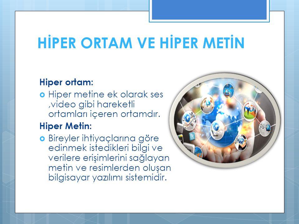 HİPER ORTAM VE HİPER METİN Hiper ortam:  Hiper metine ek olarak ses,video gibi hareketli ortamları içeren ortamdır.