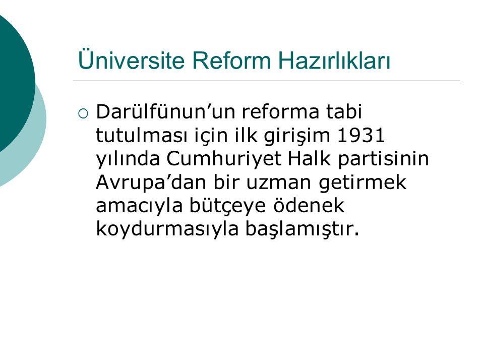  Türkiye Cumhuriyeti'nde üniversite reformunun başlangıcı olan 1933'den 1943'e kadar çok büyük ilerlemeler kaydedilmiştir.
