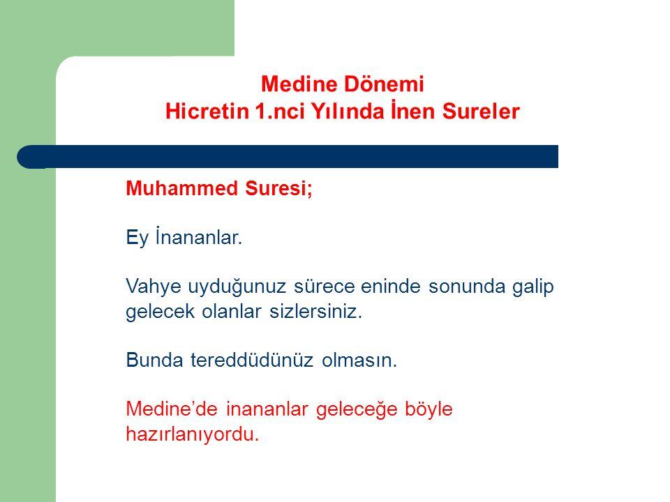 Medine Dönemi Hicretin 1.nci Yılında İnen Sureler Muhammed Suresi; Ey İnananlar.