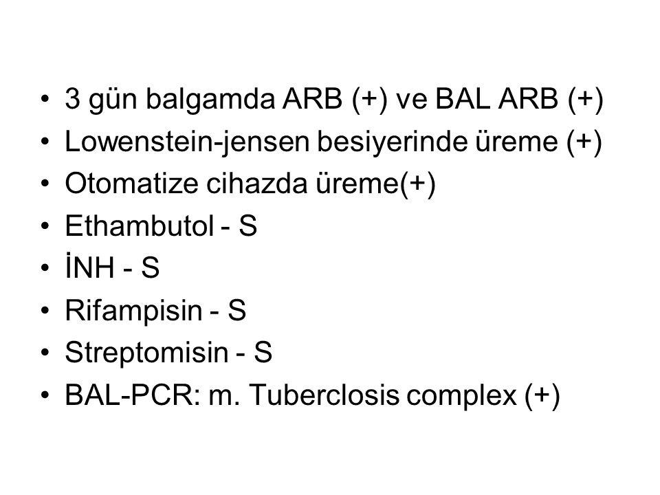 3 gün balgamda ARB (+) ve BAL ARB (+) Lowenstein-jensen besiyerinde üreme (+) Otomatize cihazda üreme(+) Ethambutol - S İNH - S Rifampisin - S Streptomisin - S BAL-PCR: m.