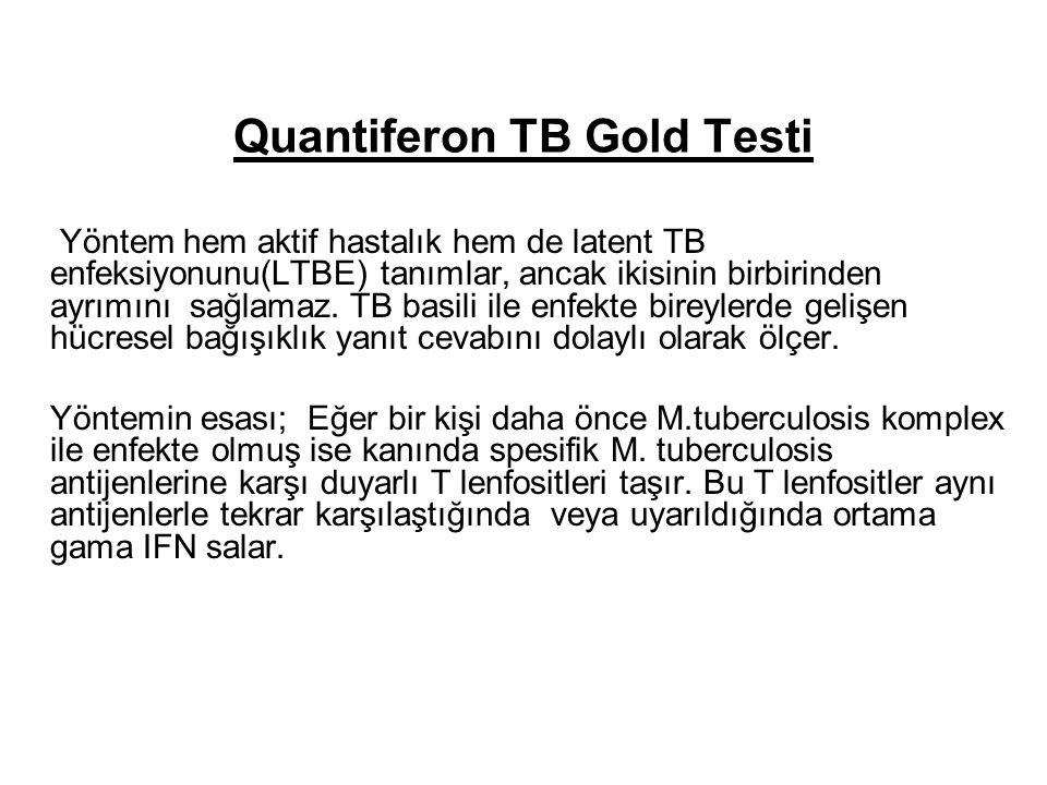 Quantiferon TB Gold Testi Yöntem hem aktif hastalık hem de latent TB enfeksiyonunu(LTBE) tanımlar, ancak ikisinin birbirinden ayrımını sağlamaz.