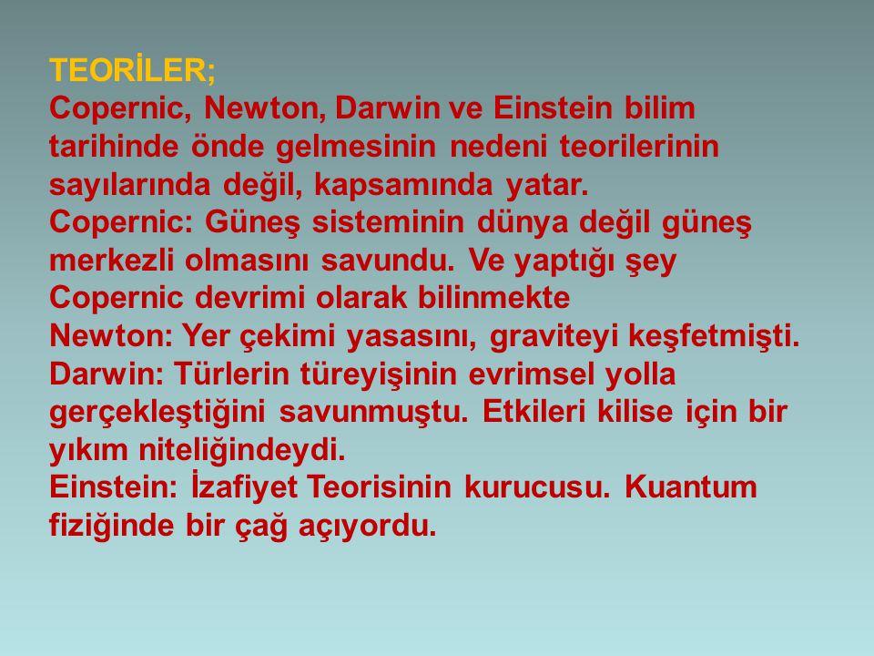 TEORİLER; Copernic, Newton, Darwin ve Einstein bilim tarihinde önde gelmesinin nedeni teorilerinin sayılarında değil, kapsamında yatar. Copernic: Güne