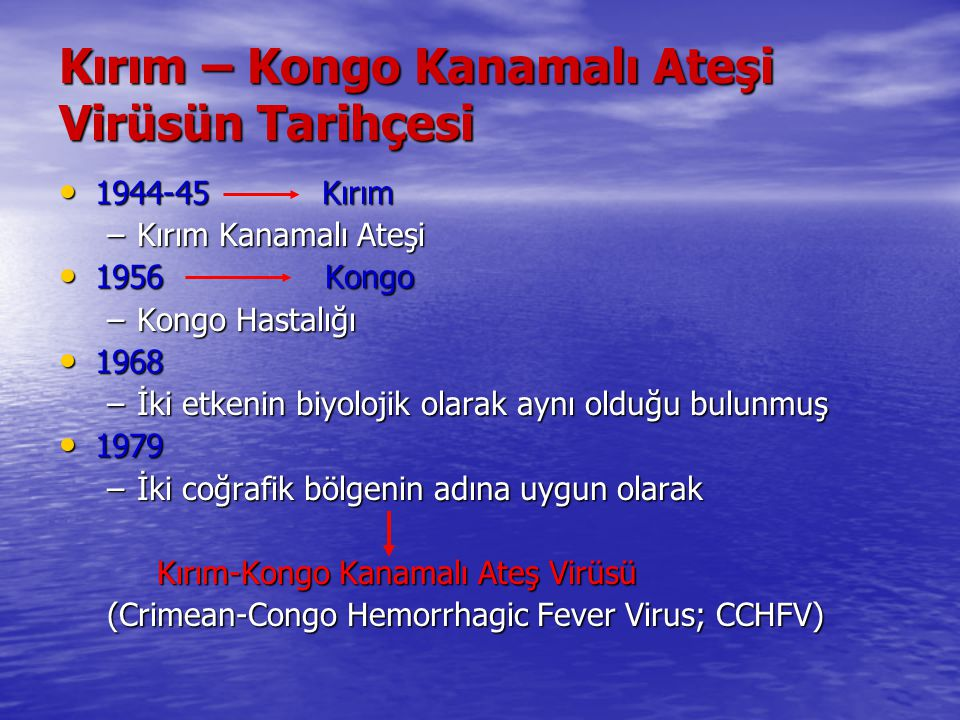 Kırım – Kongo Kanamalı Ateşi Virüsün Tarihçesi 1944-45 Kırım 1944-45 Kırım –Kırım Kanamalı Ateşi 1956 Kongo 1956 Kongo –Kongo Hastalığı 1968 1968 –İki
