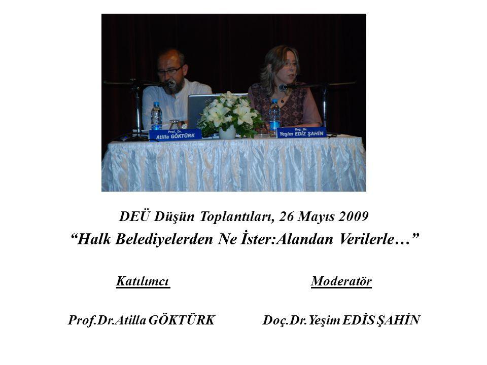 """DEÜ Düşün Toplantıları, 26 Mayıs 2009 """"Halk Belediyelerden Ne İster:Alandan Verilerle…"""" Katılımcı Moderatör Prof.Dr.Atilla GÖKTÜRKDoç.Dr.Yeşim EDİS ŞA"""