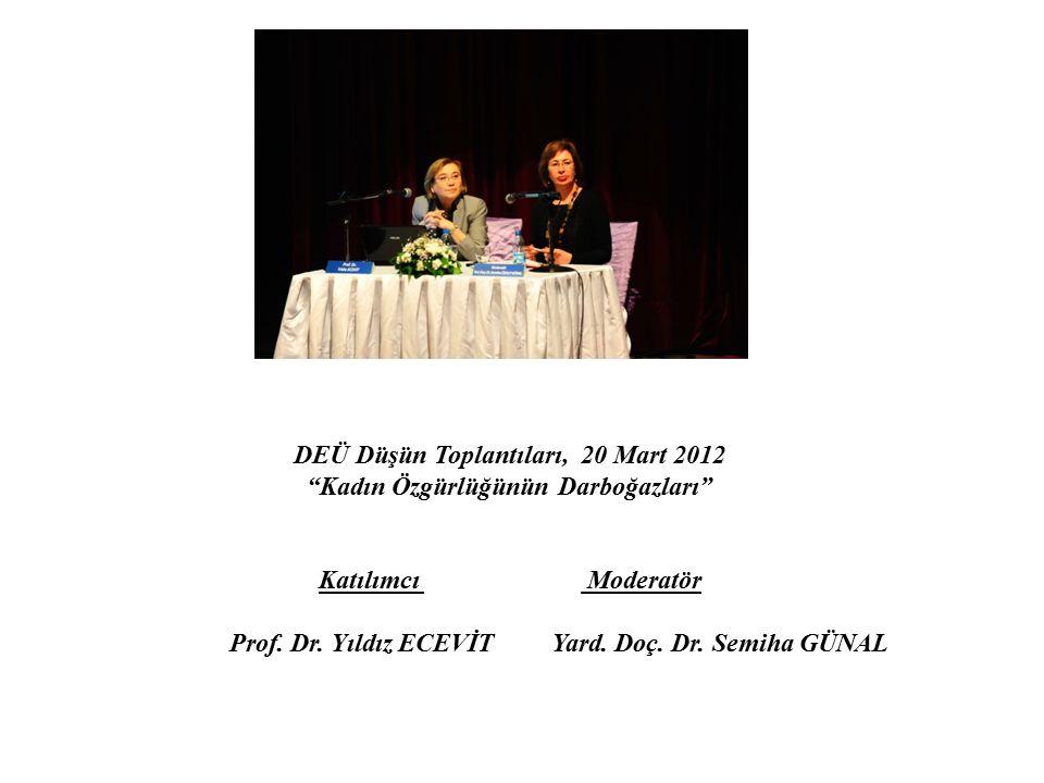 """DEÜ Düşün Toplantıları, 20 Mart 2012 """"Kadın Özgürlüğünün Darboğazları"""" Katılımcı Moderatör Prof. Dr. Yıldız ECEVİT Yard. Doç. Dr. Semiha GÜNAL"""