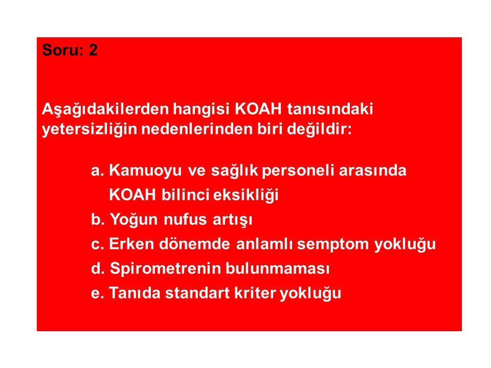 Soru: 2 Aşağıdakilerden hangisi KOAH tanısındaki yetersizliğin nedenlerinden biri değildir: a. Kamuoyu ve sağlık personeli arasında KOAH bilinci eksik